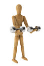 Sport concept. Wooden Dummy with Dumbbells Stock Images
