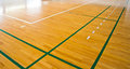 Sport court line on wooden floor Stock Photography