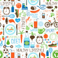 Sport, Diet and Fitness pattern Royalty Free Stock Photo