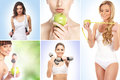 Sport dieting fitness and healthy eating concept Stock Images