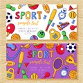 Sport doodle colorful banners templates vector illustration Royalty Free Stock Photo