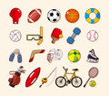 Sport element icons set cartoon vector illustration Royalty Free Stock Photos