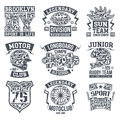 Sport emblem set graphic design for t shirt rugby moto longboard college monochrome print on a light background Royalty Free Stock Images