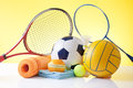 Sport equipment assorted sports including a basketball soccer ball tennis ball baseball Stock Photography