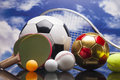 Sport equipment balls and other stuff Royalty Free Stock Photo