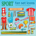 Sport equipment fan doodle set of hand drawn vector illustration signs on color background Stock Image