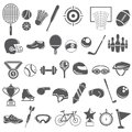 Sport equipment icons black color set Royalty Free Stock Photography
