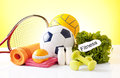 Sport equipment items for healthy physical activity Stock Photography
