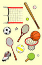 Sport equipment set of balls and Stock Photography