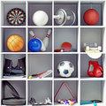 Sport equipment on the shelves creative concept Stock Photos