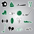 Sport equipment stickers eps color Stock Image