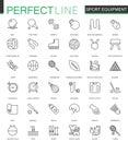 Sport equipment thin line web icons set. Outline stroke icons design.