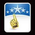 Sport fan foam hand on blue star backdrop Royalty Free Stock Photos