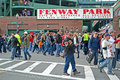 Sport fans near fenway park in boston usa apr on april is the oldest professional sports venue the united states celebrating Stock Photos