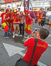 Sport fans from Spain in football fun zone, Royalty Free Stock Photography