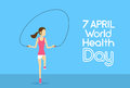 Sport Fitness Girl Jump Skipping Rope Physical Training World Health Day 7 April Holiday Royalty Free Stock Photo