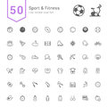 Sport & Fitness Icon Set. 50 Line Vector Icons.