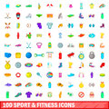100 sport and fitness icons set, cartoon style