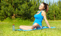 Sport fitness model outside on summer / Royalty Free Stock Photo