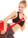 Sport fitness sporty girl in sportswear with gym bag and active lifestyle red isolated on white Stock Photo