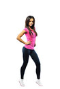 Sport fitness woman, young healthy girl full length portrait, is