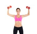 Sport fitness woman young healthy girl smile gym exercises dumbbells working out portrait isolated over white background Royalty Free Stock Photography