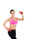 Sport fitness woman young healthy girl smile gym exercises dumbbells working out portrait isolated over white background Stock Photography