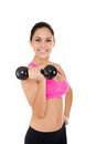 Sport fitness woman young healthy girl smile gym exercises dumbbells working out portrait isolated over white background Stock Photo
