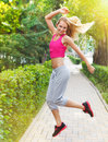 Sport fitness young woman jogging during outdoor workout running Stock Images