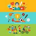 Sport flat banners set with health care and healthy lifestyle elements isolated vector illustration Royalty Free Stock Images