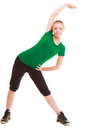 Sport. Flexible fitness girl doing stretching exercise Royalty Free Stock Photo