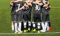 The sport football team with coach; Group photo; Children sports club Royalty Free Stock Photo