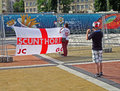 Sport fun making photo of England flag, Stock Image
