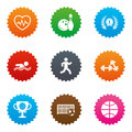 Sport games, fitness icon. Football, basketball. Royalty Free Stock Photo