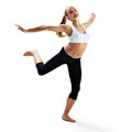 Sport girl jumping Royalty Free Stock Photo
