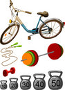 Sport gym equipment vector colorful illustration Royalty Free Stock Image