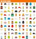 100 sport icon set, flat style