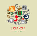 Sport icon vector color set on beige Stock Image