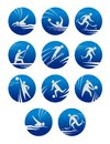 Sport icons set with sportsman for any competition or championship design Royalty Free Stock Image