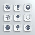Sport icons set - vector white app buttons Royalty Free Stock Photo