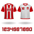 Sport jerseys vector set of with emblems and numbers Royalty Free Stock Images