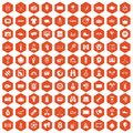 100 sport journalist icons hexagon orange
