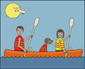 Sport kayaking cartoon people and a dog on a sunny day Royalty Free Stock Photography