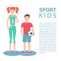 Sport kids. Healthy lifestyle. Physically active girl and boy. Royalty Free Stock Photo