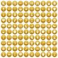 100 sport life icons set gold Royalty Free Stock Photo