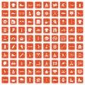 100 sport life icons set grunge orange Royalty Free Stock Photo