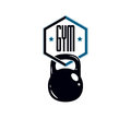 Sport logo for weightlifting gym and fitness club, retro stylize Royalty Free Stock Photo