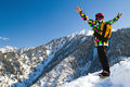 Sport man in snowy mountains Royalty Free Stock Photography
