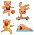Sport mascot bear collection set create by vector Stock Image