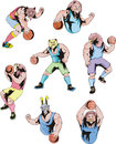 Sport mascots basketball set of color vector illustrations Royalty Free Stock Image